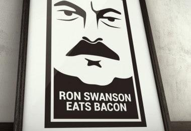 Ron Swanson eats bacon