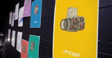 Camera Doodles on flat design colors