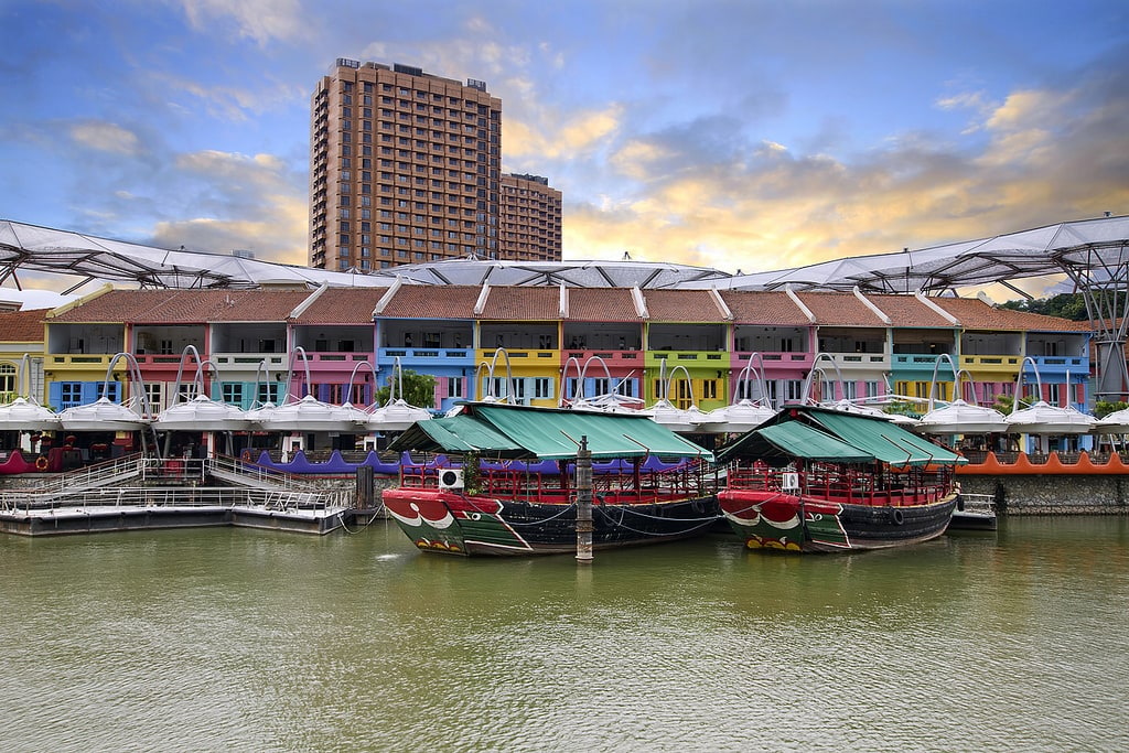 Colorful Historic Houses by River