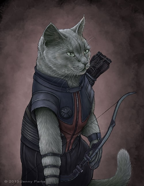 Hawkeye-Cat-Man-Artwork-By-Jenny-Parks
