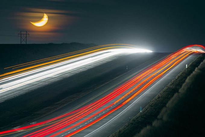 Car Lights and Moon