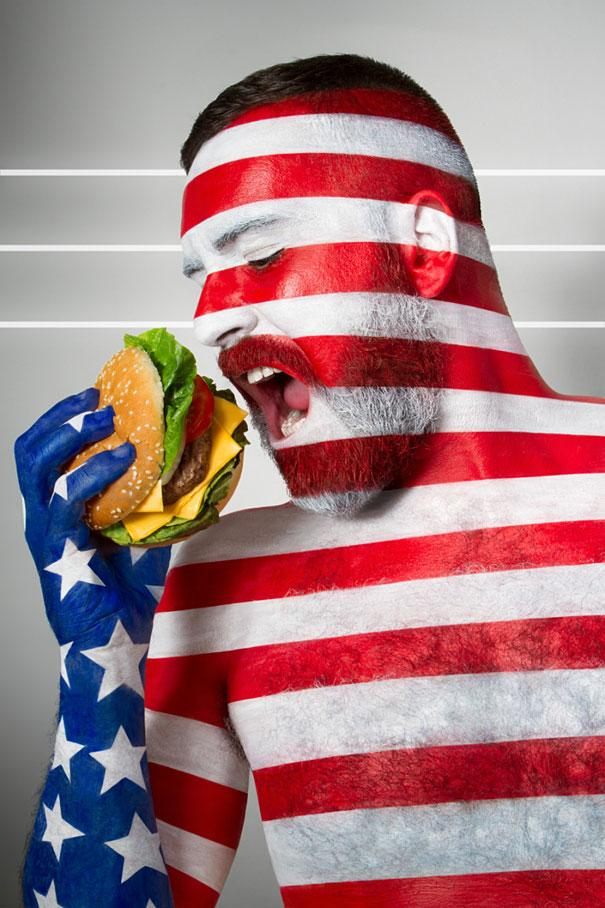 International-Flags-Body-Painted-Models-Eating-Their-National-Foods-5
