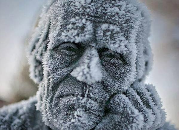 A+frozen,+kind+of+depressed+statue.+-+The+30+Most+Amazing+Photos+Of+Frozen+Things+In+Honor+Of+The+Coldest+Morning+Of+The+21st+Century