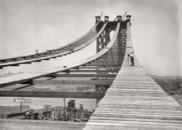 Manhattan Bridge construction 1908