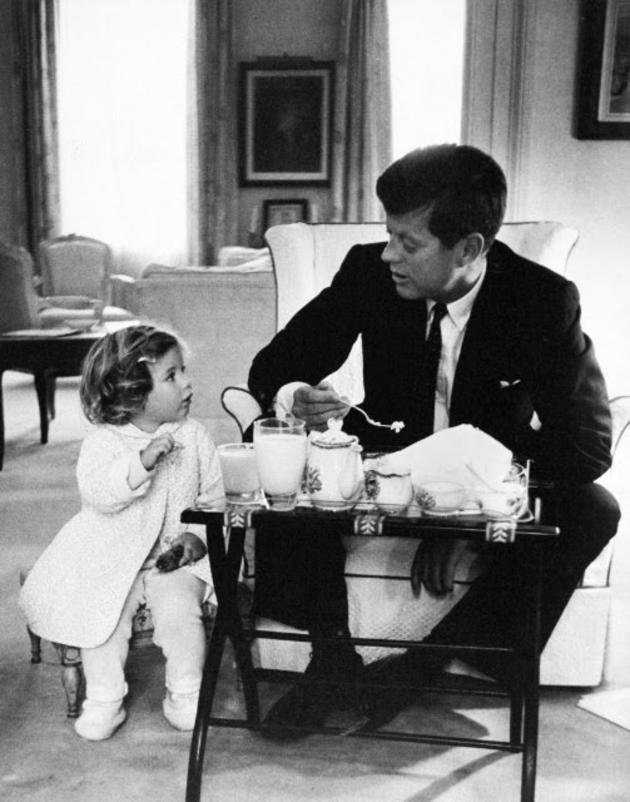 JFK and caroline kennedy have a tea party