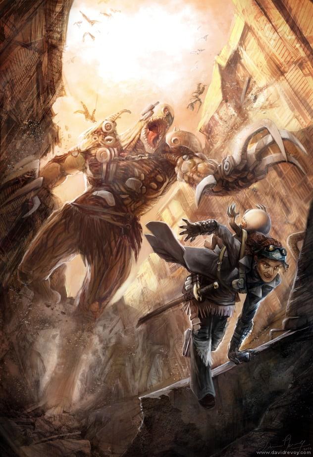 alien-planet-warrior-monster-fight-chase-fantasy-science-fiction-illustration-art