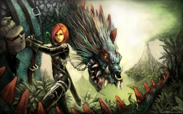 dragon-beast-rider-warrior-woman-girl-sexy-art-fantasy-illustration-painting-643x401