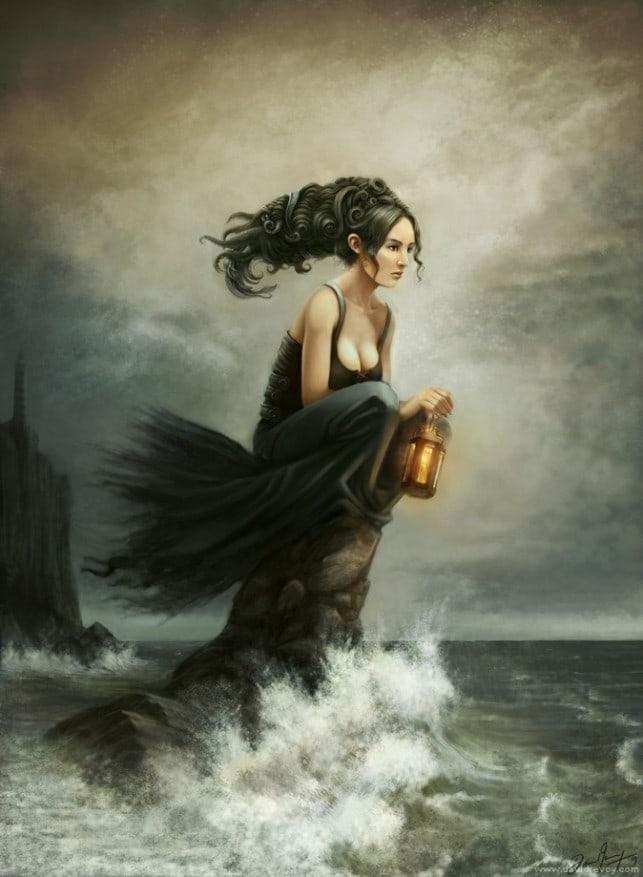 water-woman-sitting-on-rock-sea-shore-waves-lantern-lighthouse-fantasy-art-illustration-643x877