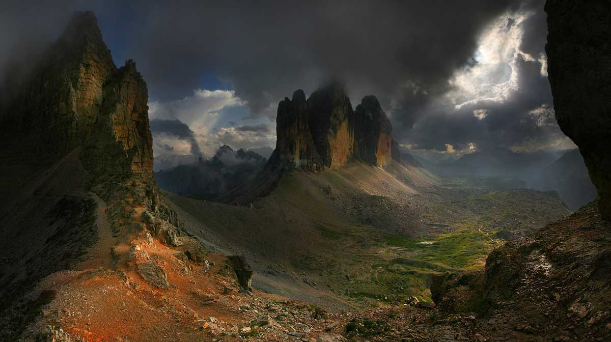Dodging storm clouds in the Dolomites, Italy