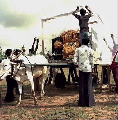 Transporting 'The Apple', the first Indian satellite, 1981