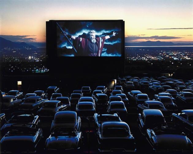 "Charlton Heston as Moses in ""The Ten Commandments,"" drive-in theater, Utah, 1958"