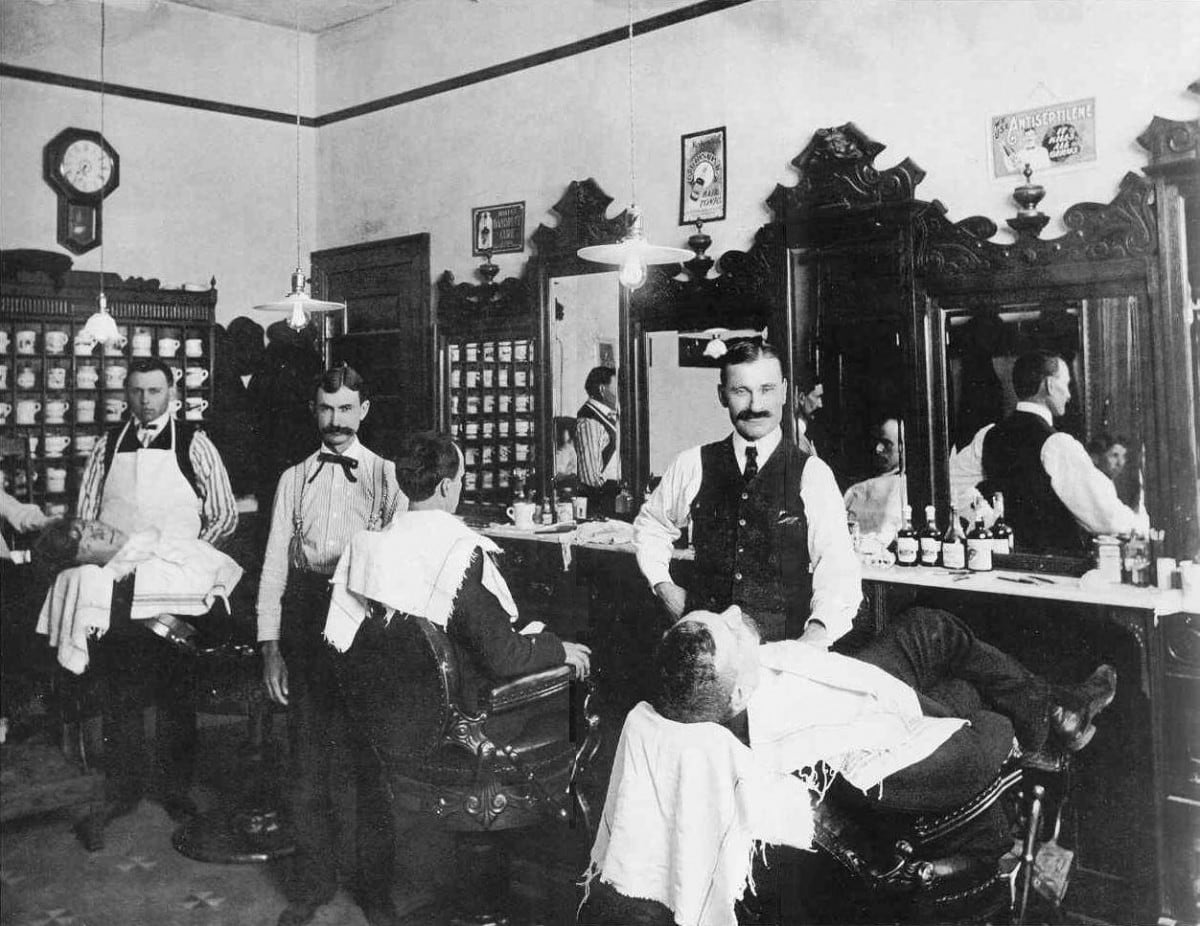 A common Kansas Barber Shop in the year 1900