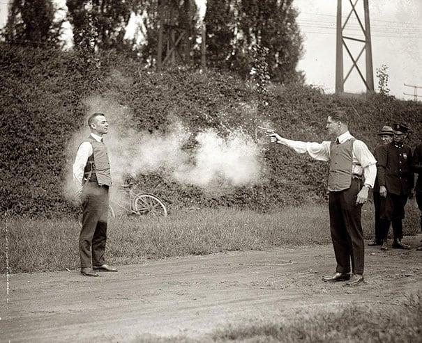 Testing of new bulletproof vests, 1923