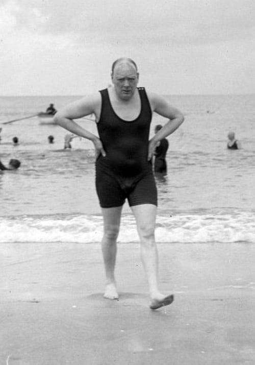 Winston Churchill in a swimsuit, 1922