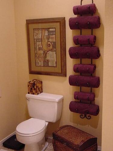 Wine racks make great towel holders.