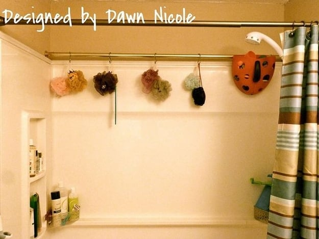 Use an extra shower curtain rod for extra storage.