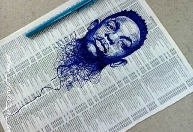 Pen Sketches on Telephone Directory Pages by Odeén Davis 1