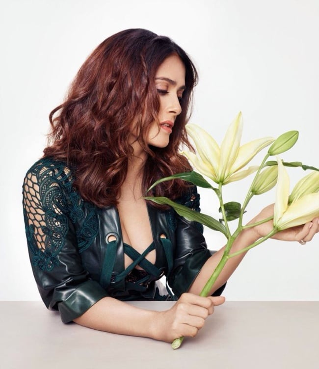 Salma Hayek Poses with Flowers for L'Officiel Paris Story 3