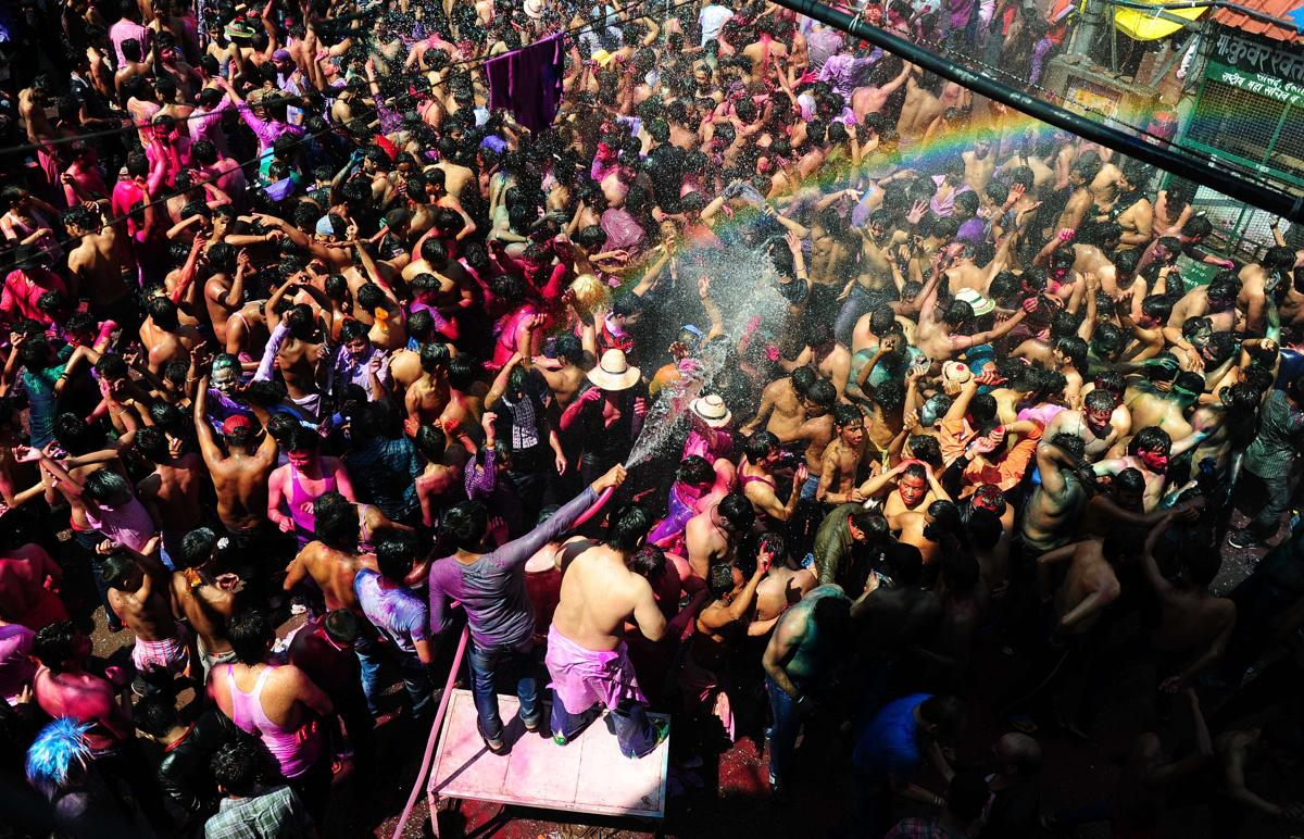 Indian people celebrated the Holi festival in Allahabad on March 6. (Sanjay Kanojia/AFP/Getty Images)