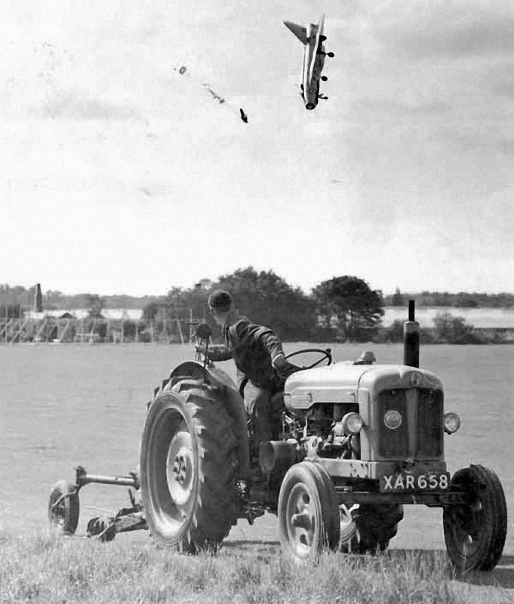 Test pilot George Aird narrowly escapes death by ejecting sideways from a prototype jet that nosedived (1962).