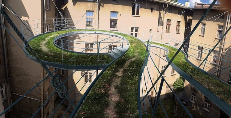 Spiraling Green-Covered Walkway Suspended High Above the Central Courtyard of a Building 1