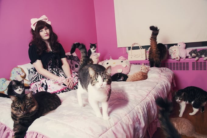 Sabrina with cats. (Andreanne Lupien/Caters News)