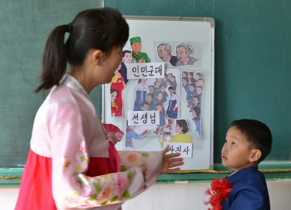 The new school year of 2015-2016 began in the DPRK with due ceremonies at schools in Pyongyang, in this undated photo released April 1, 2015. (Photo by Reuters/KCNA)