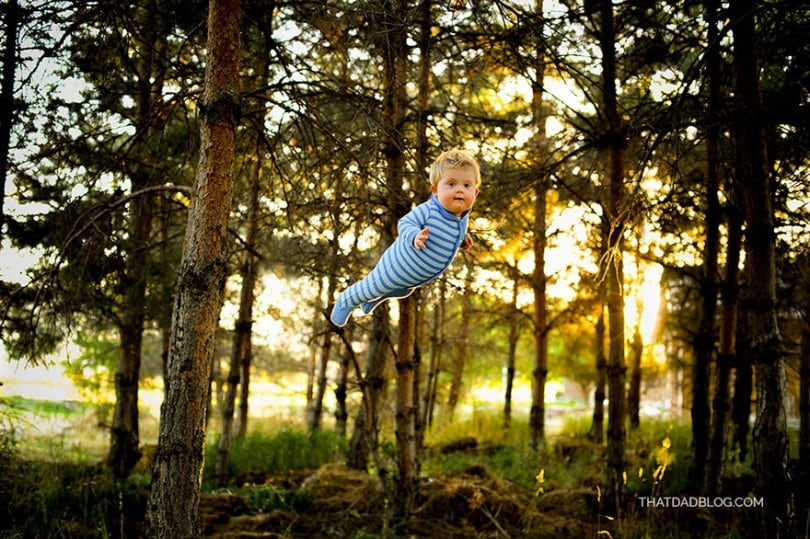 """Dad Makes His Son With Down Syndrome """"Fly"""" In Heartwarming Super-Hero Photo Series 1"""