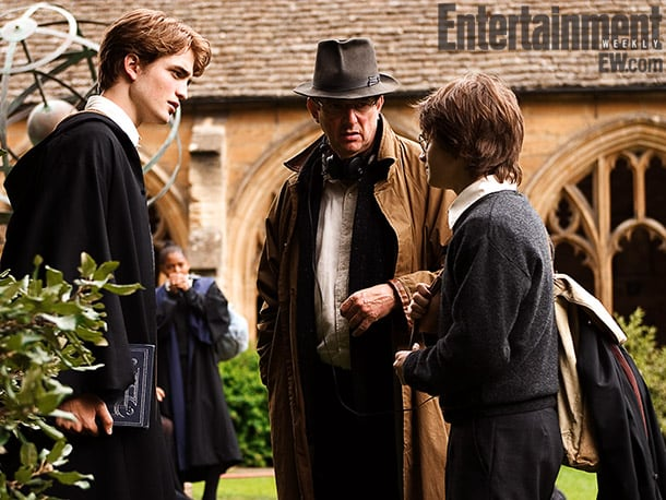 Robert Pattinson (left), director Mike Newell, and Radcliffe, Harry Potter and the Goblet of Fire (2005) Image Credit: Murray Close
