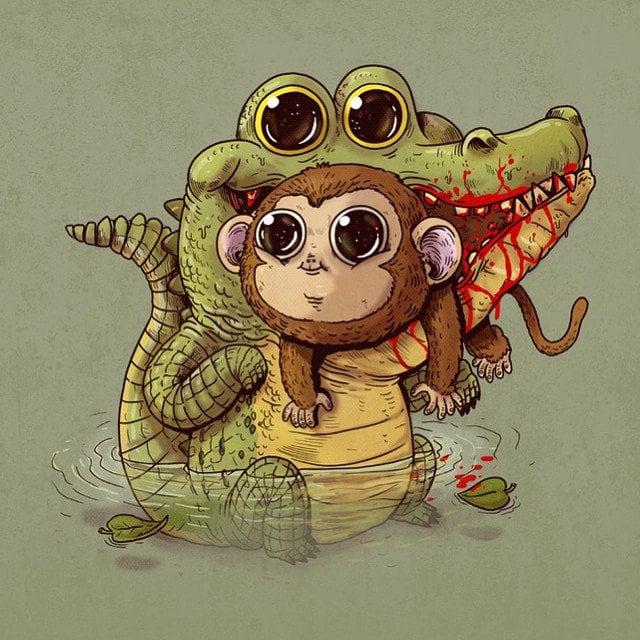 Alex-Solis-Adorable-and-Morbid-Illustrations-Of-Predators-4