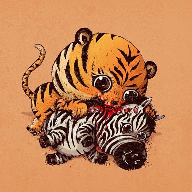Alex-Solis-Adorable-and-Morbid-Illustrations-Of-Predators-8