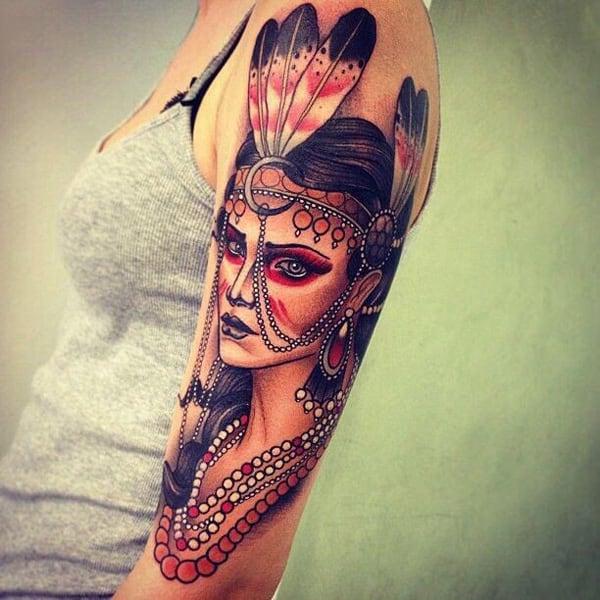 Native-American-woman-upper-arm-tattoo