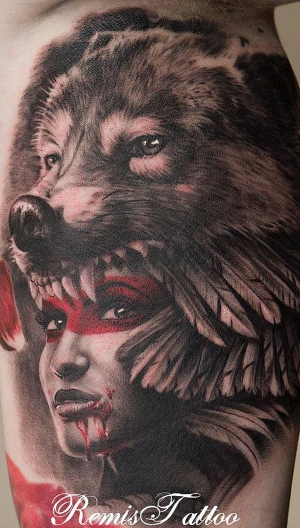 Wolf-headdress-tattoo-girl