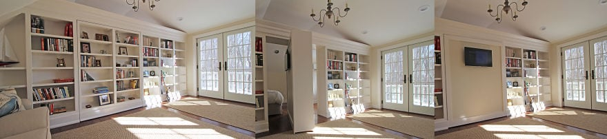 A Billy bookcase used as a hidden door