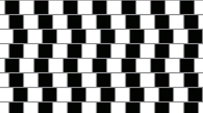 Sloping horizontal lines