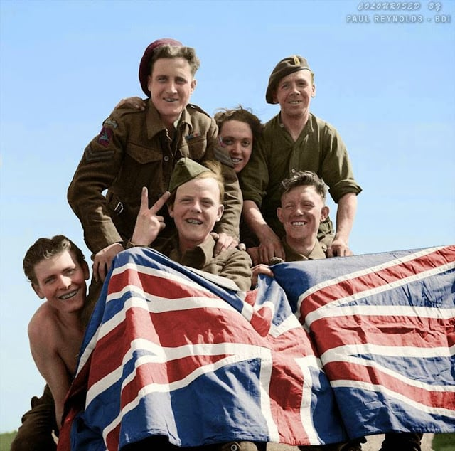 British Prisoners of War celebrate their liberation from Stalag X1B, 16th April 1945. (Colorized by Paul Reynolds. Historic Military Photo Colourisations)