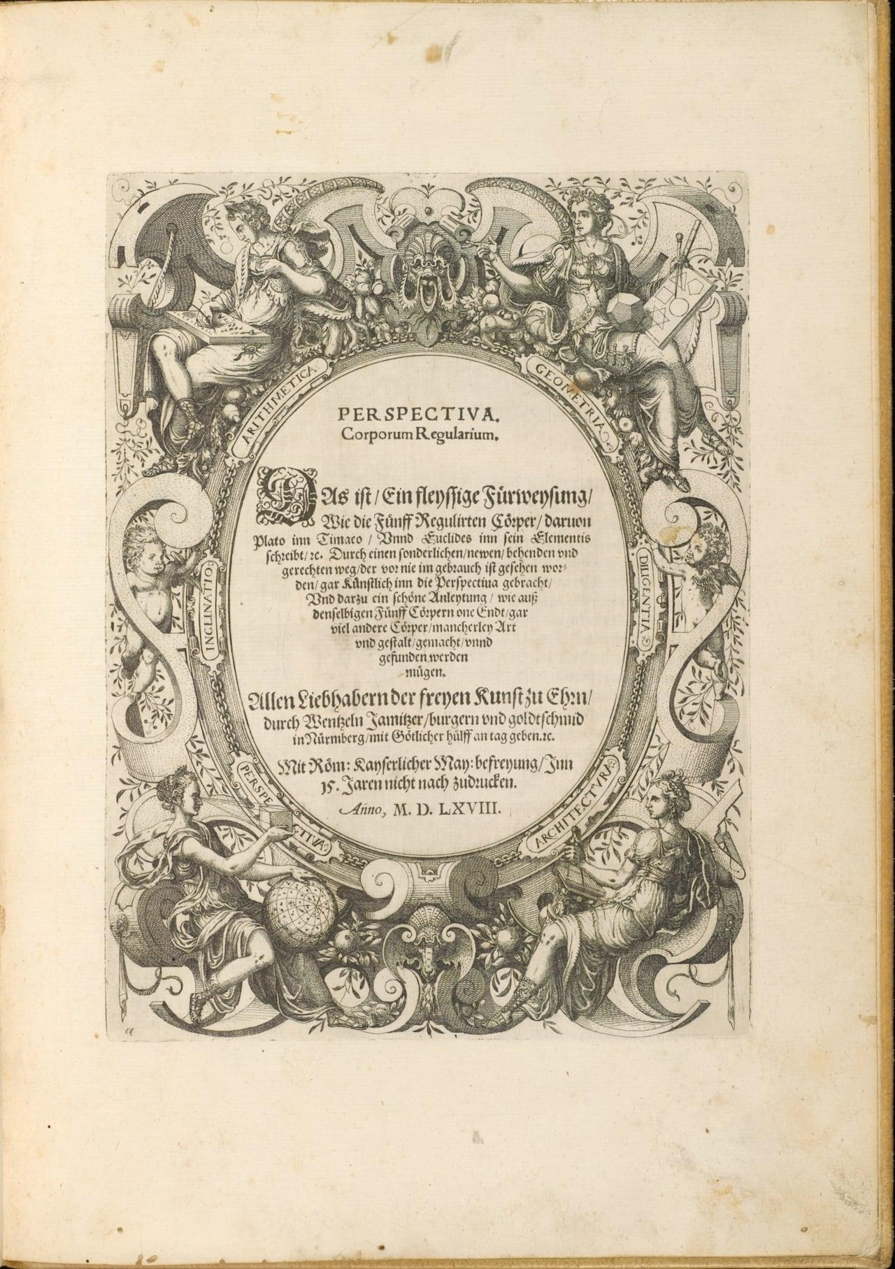 Title page of Wenzel Jamnitzer's 'Perspectiva corporum regularium'