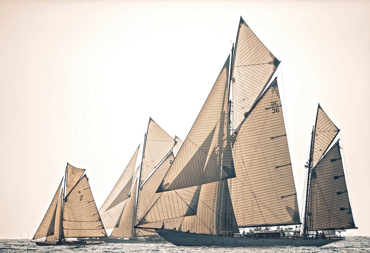 ESTEREL, Sail Number: H 31, LOA: 12.97m, Year: 1912, Type: 8MJI AURIQUE, Shipyard: LEON SIBILLE, Architect: LEON SIBILLE& LOUIS GROSSI THENDARA, Sail Number: 36, LOA: 36m, Year: 1937, Type: KETCH AURIQUE, Shipyard: STEPHEN & SONS, Architect: ALFRED MYLNE MARISKA, Sail Number: D 1, LOA: 23.4m, Year: 1908, Type: 15MJI, Shipyard: FAIRLIE, Architect: W FIFE III