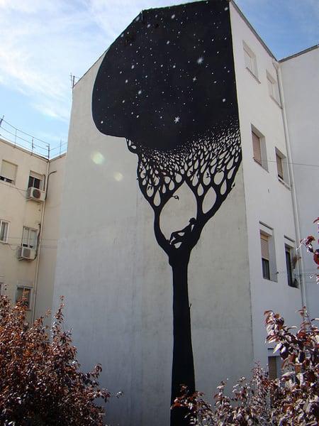 black tree street art