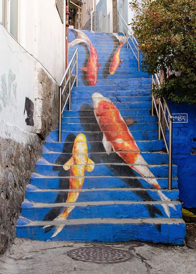 fish stair street art