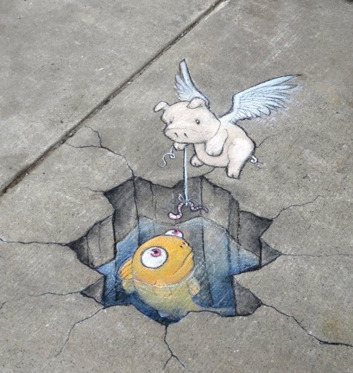 fishing street art