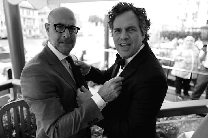 Stanley Tucci and Mark Ruffalo at the Gritti Palace on the Grand Canal before attending the screening of Tom McCarthy's Spotlight.
