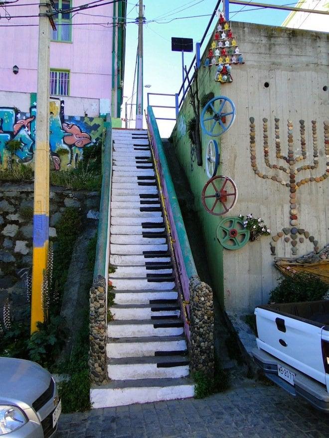 stair street art color