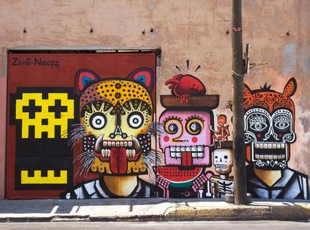 strange cat street art