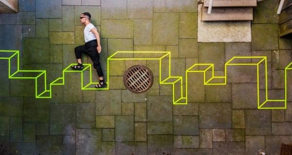 street art mix 3D with 2D