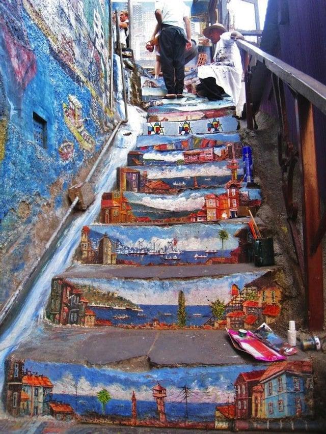unique stair street art