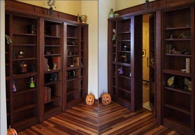 secret room behind a bookshelf