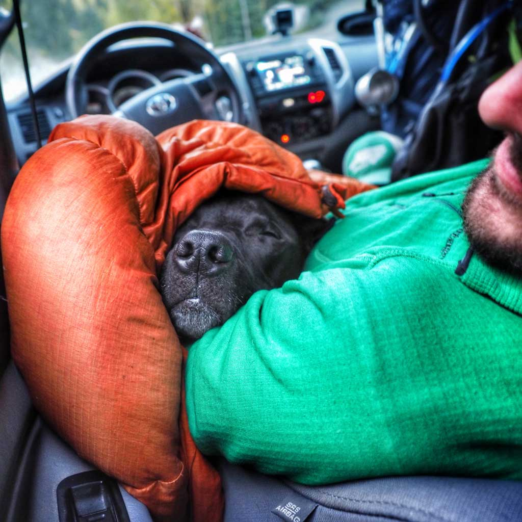 One night we slept in the front seat because we let our hitchhiker friends sleep in the camper.