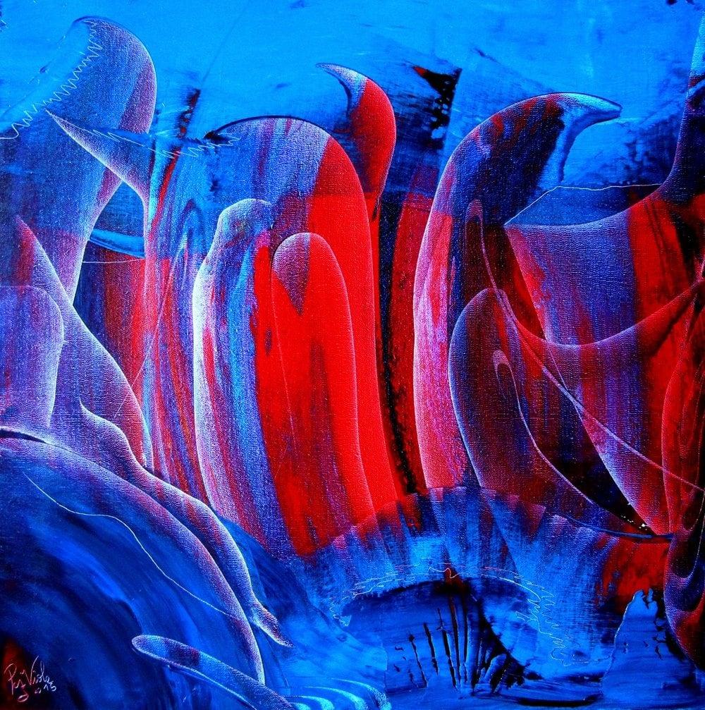 Pacific lava, oil on canvas, 50cm x 50cm, 2015, contemporary abstract art, Mauricio Paz Viola