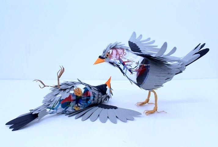 6 Bird Paper Sculptures by Diana Beltran Herrera yatzer